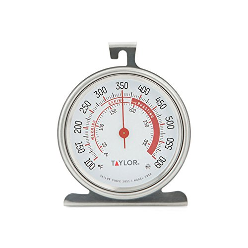 Taylor Precision Products Classic Series Large Dial Oven Thermometer (5932), Silver