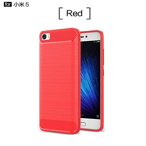pinlu Cover Per Xiaomi Mi5 Alta Qualità Silicone Soft TPU Ultrasottile Fibra di Carbonio con Anti Scivolo Antiurto Posteriore Posteriore Disegno Rosso