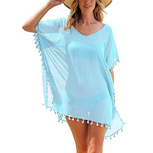 JMITHA Damen Strandponcho Sommer Strandkleid Sommerkleid Bikini Badeanzug Cover Up (One Size(XS-2XL), Hellblau Tassel)