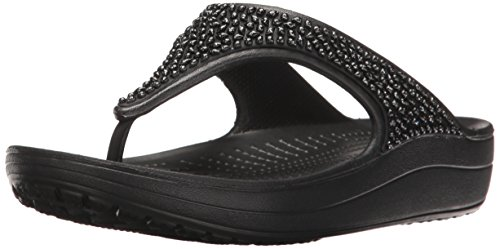 Croc's Crocs Damen Sloane Embellished Flip Plateau Sandalen, Schwarz (Black 060), 34/35 EU