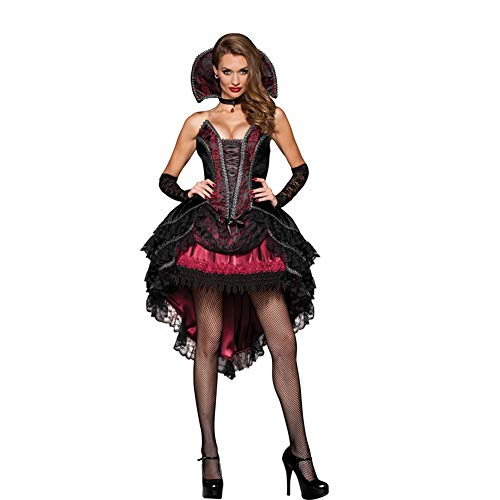 BERTHACC Dames Halloween Party Masquerade Gotische Brocade Kant Gotische Korset Rok Set,Donker Vampier Kostuum voor Meisjes, Inclusief Een Mini Jurk, Een Sheer Cape