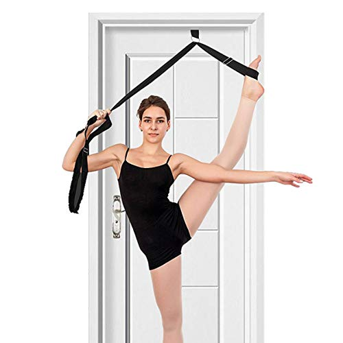 tchrules Leg Stretcher, Door Flexibility & Stretching Leg Strap - Great for Ballet Cheer Dance Gymnastics or Any Sport Leg Stretcher Door Flexibility Trainer Premium Stretching Equipment (Black)