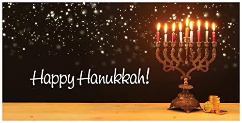 Hanukkah Card Money Holder (3.5x6.5) by Fravessi |Envelope For Money, Cash, Checks, Gifts | 10 Pack (Menorah on Table)