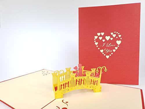 3D Card Paar in Liefde op De Brug Ik hou van U Dank U pop-up Wenskaart, Kirigami Papier Craft Postkaarten, Viering, Gefeliciteerd.
