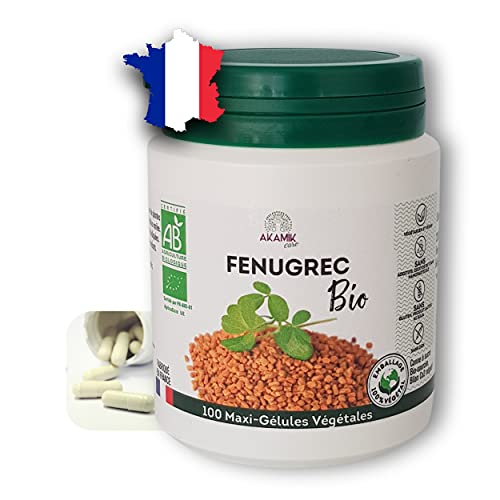 Fenugrec BIO pur et naturel 2320mg -100 gélules - Pour augmenter votre poitrine ou grossir des fesses. - Complément alimentaire pour allaitement, stimuler croissance cheveux. Made in France- Écocert