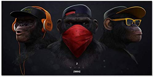 """Surfilter Print auf Leinwand Tierbilder Leinwanddruck Gemälde DJ Monkey mit Kopfhörer Wandkunst Poster Drucke für Wohnkultur 27,5""""x 55,1"""" (70x140cm) Kein Rahmen"""