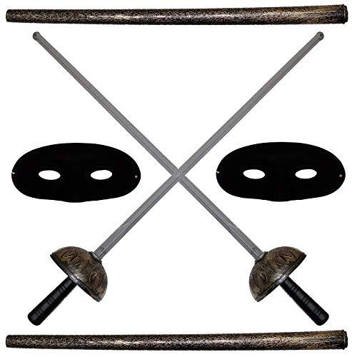 2 x Florett 60cm Waffe für Kostüm Pirat Zorro Kostümaccessoire 2 Florette