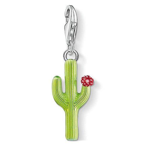 Thomas Sabo Charm-Anhänger Grüner Kaktus mit Blüte 925 Sterling Silber 1437-007-33