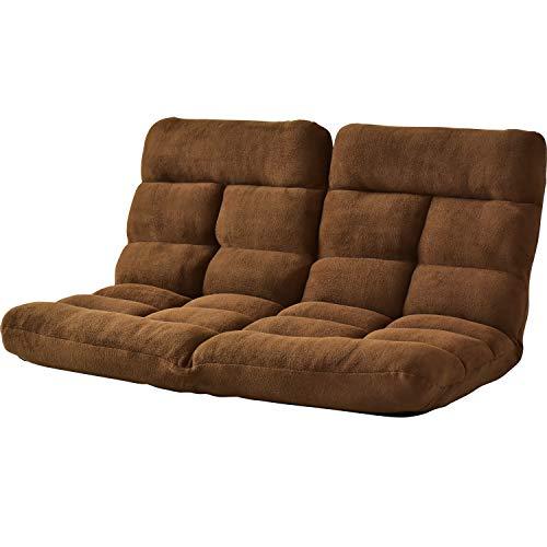 DORIS 座椅子 2人掛け ローソファ フロアソファ 左右独立リクライニング 奥行調整可能な2箇所の14段階ギア搭載 ふっくらサンゴマイヤー生地 ブラウン ピオンセ