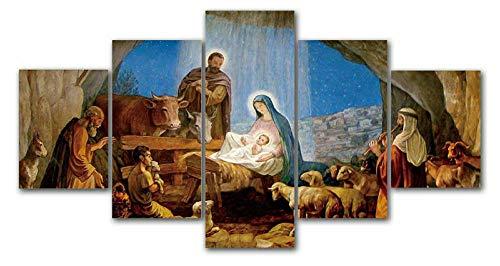 IIIUHU Cuadro en Lienzo Nacimiento navideño de Jesús 150x80cm - XXL Impresión Material Tejido no Tejido Artística Imagen Gráfica Decoracion de Pared - 5 Piezas - Listo para Colgar