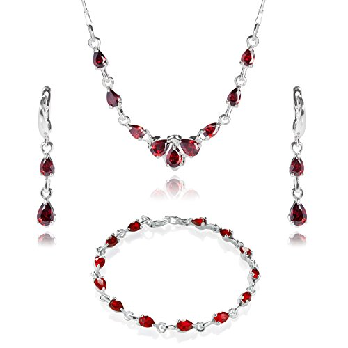 LillyMarie Damen Schmuck set Silber 925 Zirkonia-Steine rot Längen-verstellbar Schmucketui Brautschmuck
