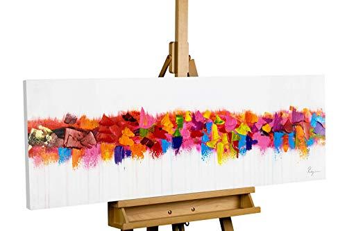 KunstLoft® Acryl Gemälde 'Farbenspiel am Horizont' 120x40cm | original handgemalte Leinwand Bilder XXL | Abstrakt Bunt Bunt | Wandbild Acrylbild Moderne Kunst einteilig mit Rahmen