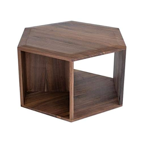 LYN bijzettafel, zwart walnoothout-hexagon-koffietafel, slaapkamer-nachtkastje, woonkamer-vaste houten hoektafel