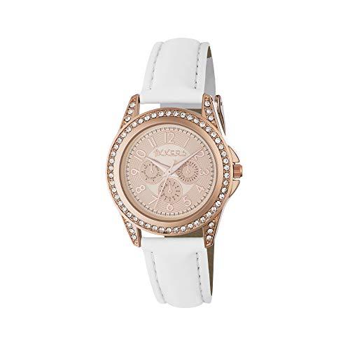 Tikkers Girl oro rosa orologio al quarzo con display analogico e cinturino in Finta pelle bianca TK0129