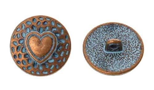 Handarbeit-Lieblingsladen Bottoni in metallo, 10 pezzi, diametro ca. 18 mm, rotondi, color rame rosso, con motivo a cuore, per cappotti, pomelli per cappotti, occhielli per cucire