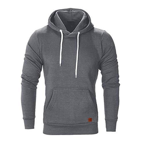 SELENECHEN Herren Sweatshirt Kapuzenpullover Sweatjacke Pullover Hoodie Sweat Hoody Sweatshirt Herren Pullover (Dark Gray, 2XL)