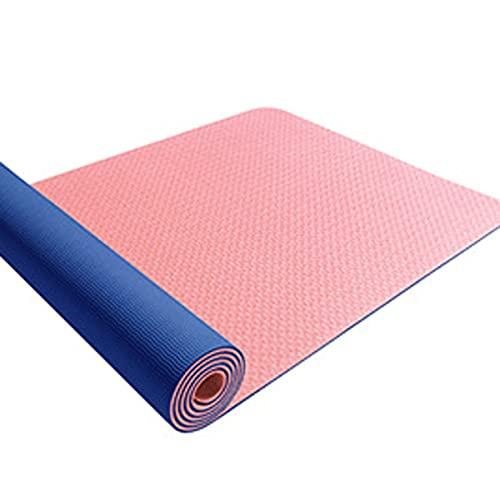 Estera De Yoga TPE Antideslizante E Insípida, Estera De Yoga Bicolor Gruesa, Yoga, Gimnasia Física (Color : A, Size : 183X61x0.8cm)
