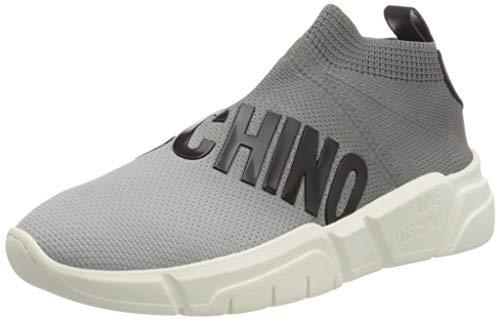 Love Moschino Sock Sneakers Donna Tessuto Elastico, Precollezione Autunno-Inverno. Made in Italy, Colore: Grigio. Taglia: 40, Chaussure de Piste d'athltisme Femme, Couleur : Gris