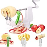 LHS Apple Peeler, 3 in 1 Multifunctional Kitchen Heavy-duty Slicer for Peeling, Slicing and Coring, Sharp Stainless Steel Blade Suitable for Most Fruits and Veggies, Apple, Pear, Potato, Onion