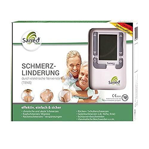 SaneoTENS Schmerzlinderung elektrischer TENS Nervenstimulator zur Schmerzlinderung am gesamten Körper | deutsche Markenqualität | Medizinprodukt | Tensgerät, Reizstrom-Gerät, Therapie-Gerät mit TENS Elektrostimulation (Schmerzlinderung)