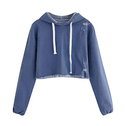 Zarupeng Dames Casual denim lange mouwen capuchon sweatshirt slim fit korte blouse shirts crop top used look