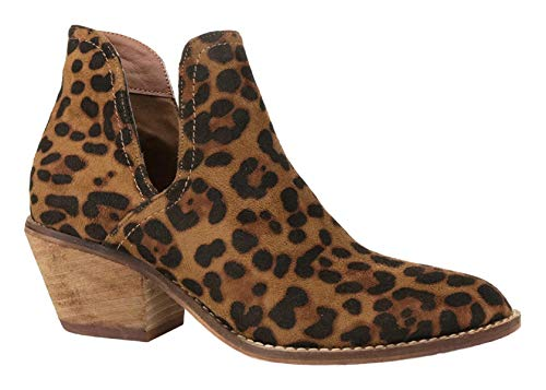 Beast Fashion Sunny-01 Women Western Short Ankle Pointed Toe Booties Boots Animal Leopard Print V Side Cut D'Orsay Leather Block Heel Size Run Big (10, Leopard)