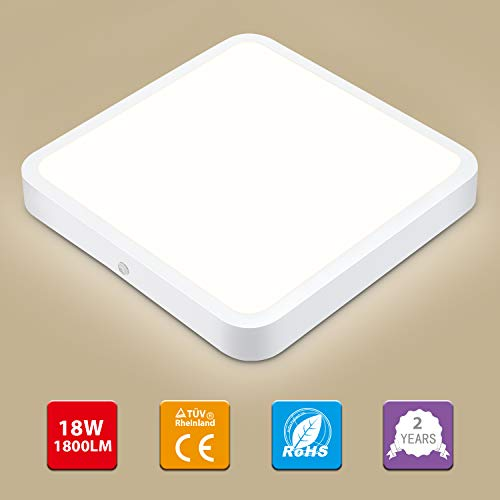 Oraymin LED Deckenleuchte, 18W Quadrat LED Panel Deckenlampe geeignet für Küche Balkon Schlafzimmer Korridor Wohnzimmer, Naturweiß 4000K, 1800LM (100LM / W)