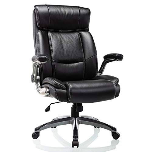 High Back Office Chair with Flip-up Arms - Computer Desk Chair with Adjustable Height Thick Padded Seat and Back Support Swivel Bonded Leather Executive Task Chair for Home Office Work