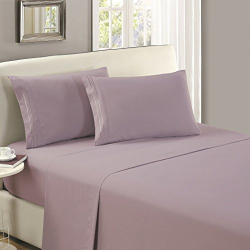 Mellanni Queen Flat Sheet - Hotel Luxury 1800 Bedding Cooling Top Sheet - Softest Sheets - Wrinkle, Fade, Stain Resistant - 1 Queen Flat Sheet Only (Queen, Lavender)