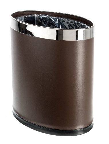 Brelso Small Office Trash Can, Open Top Small Wastebasket Bin, Invisi-Overlap' Metal Garbage Can, Waste Basket for Powder Room, Vanity, Bathroom (Brown)