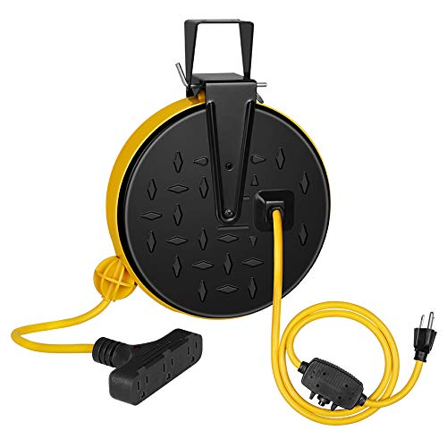 DEWENWILS 30 Ft Retractable Extension Cord Reel, Ceiling/Wall Mount 16/3 Gauge SJTW Power Cord with 3 Electrical Outlets Pigtail for Garage and Shop, 10 Amp Circuit Breaker, Metal Plate, ETL Listed