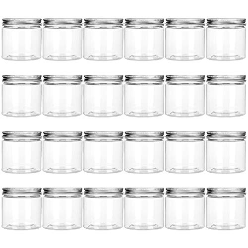 24Pack 6oz Clear Plastic Storage Jars with Aluminum Lids Refillable Empty Containers Wide-Mouth Plastic Containers Jars for Slime Liquid and Solid Products Dried Fruit Seasoning and Honey Storage