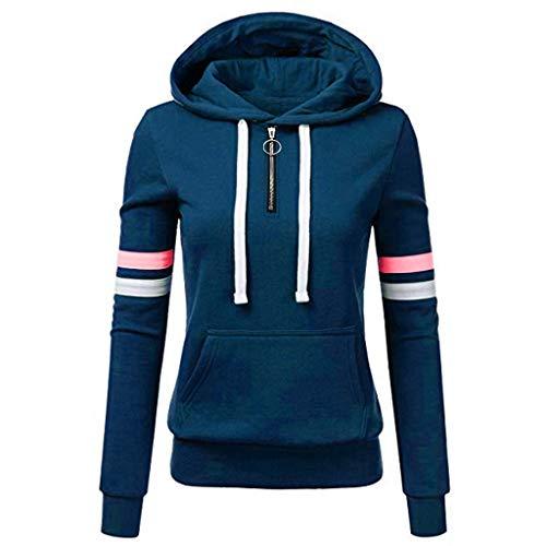 TOPKEAL Frauen Hoodie Pullover Damen Kapuzenpullover Streifen Sweatshirt Winterpullover Langarm Jacke mit Kapuze Tasche Mantel Tops Blouse Pulli (B_Blau, XXL)