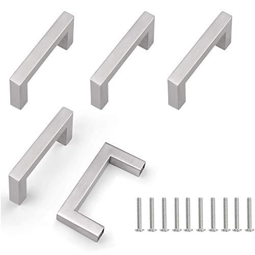 5 unità Maniglie per armadietti in acciaio inossidabile Manopole per porte Sivler Maniglia per mobili con vite per cassetti Mobili per mobili da cucina Decorazioni per la casa, distanza fori 64 mm