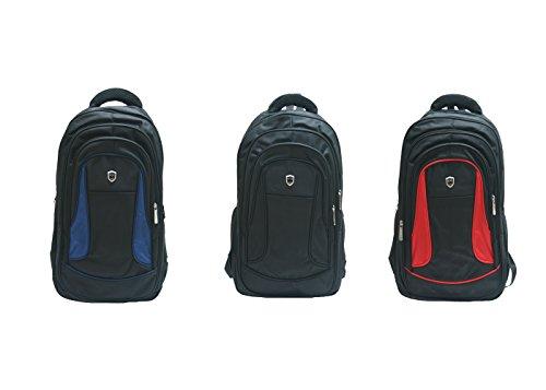 """JustGlam - Zaino multifunzione porta notebook 17"""" con spallotti e schienale imbottito art 1015 / nero-rosso"""