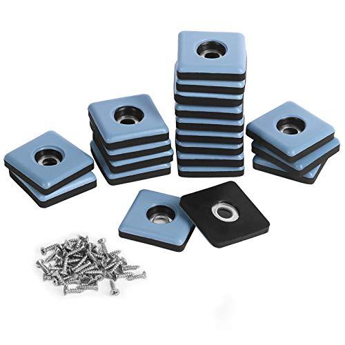 Shintop Furniture Glides, 20 Stück Teflon Eckig Möbelgleiter zum Schrauben PTFE Gleiter für Möbel Easy Mover(Blau)