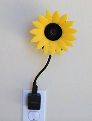 Hide-Your-Cam Nest Cam Flexible Cable Omnidirectional 360 Degree Stand AC Outlet Wall Mount with Disguise Protection Decoration Sun Flower