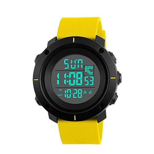 TONSHEN Damen Digital Uhren 50M Wasserdicht Sportuhr LED Doppelte Zeit Plastik Lünetten und Kautschuk Band Multifunktional LED Armbanduhr (Gelb)