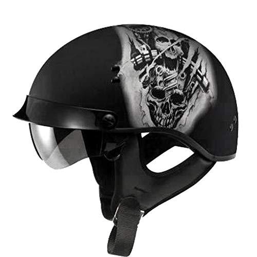 DJCALA Chopper Pilot Vintage Motorhelm Mofa Jet-Helm Bobber Biker Vespa-Helm Scooter-Helm Cruiser Retro Stijl Harley Halve Helm Open Gezicht Motorfiets Crash Helm, DOT gecertificeerd