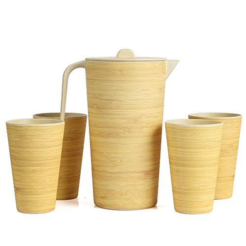 Lekoch Water Pitcher Set with Lid a…