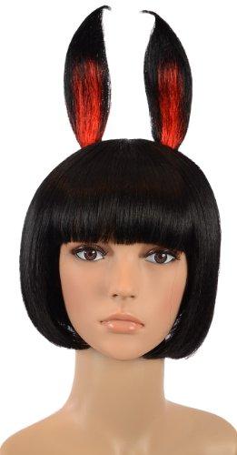 Perruque Coupe au Carré Pixie Noir avec Oreilles de lapin / Perruque Lapin Playboy / Perruques pour Enterrement de vie de jeune fille / Perruques pour Halloween