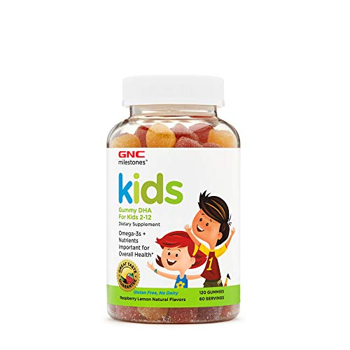 GNC Milestones Kids Gummy DHA for Kids 2-12, 120 Gummies, Supports Eye and Brain Health