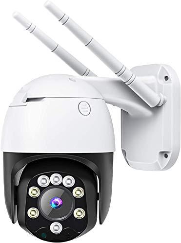 Cámara de Vigilancia Interior/Exterior, WiFi Cámara con Vista panorámica/inclinación de 320 °, IP66 a Prueba de Agua, Visión Nocturna, Detección de Movimiento, Audio Bidireccional.
