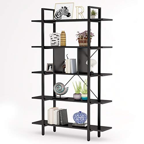 Tribesigns Bücherregal 5 Ebenen Industrie Vintage Regal,groß Lagerregal mit Leitblech für Wohnzimmer, als pflanzenregal,küchenregal schwarz