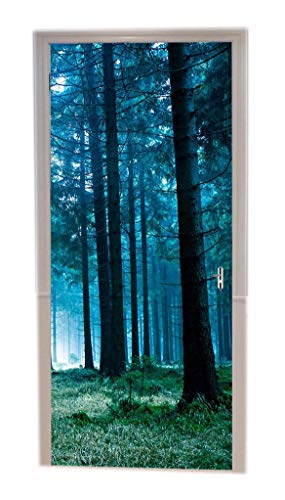 A.Monamour Türtapeten Selbstklebend 3D Sonnenlicht Durch Nebelige Kiefernwaldbäume Grünes Gras Naturszene Türtapete Türposter Tapete 77x200cm