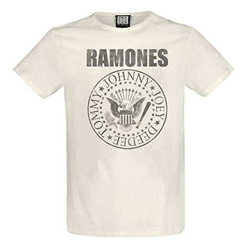 Amplified Ramones 'Vintage Shield' (Natural) Camiseta Ropa