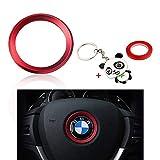 BLINGOOSE Volante Logo Emblema Copertura Decorazione Adesivo in Metallo per BMW 1 3 5 Serie X1 X2 X3 X5 X6 Accessori per la Decorazione dell'auto (Rosso, Steeling)