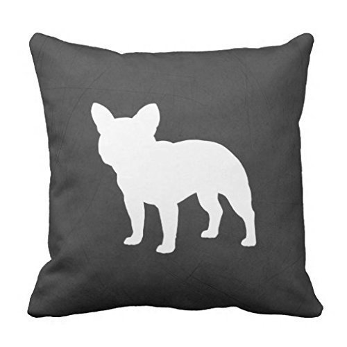 CaseWorkShop French Bulldog Silhouette Accent Decorative Home Decor Square Indoor/Outdoor Pillowcase Cotton Throw Pillow Cover Case 16 In