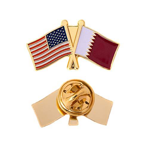 Katar Country Doppelter Flagge Anstecknadel Emaille mit United States USA US aus Metall Souvenir Hat Herren Frauen Patriotische Qatari