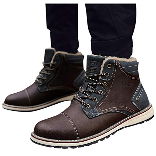 Why Should You Buy Seaintheson Men's Flat Booties,Outdoor Wild Casual Snow Boots British Style Lace ...